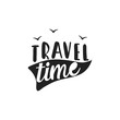 Hand drawn design with phrase - Travel Time. Summer concept. Vector illustration - 256481102