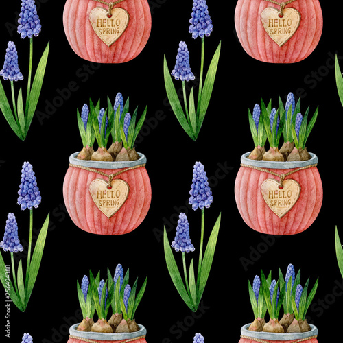 obraz PCV Seamless pattern with blue muscari plant and muscari bulbs in a pot. Watercolor handmade illustration.