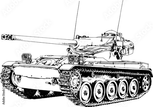 heavy tank painted in ink by hand on a white background © evgo1977