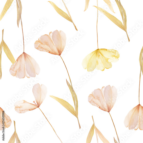 Pressed and dried tulip flowers pattern wallpaper on a white background. For use in scrapbooking