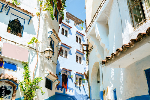 Street painted white and blue in Chefchaouen, Morocco