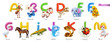 Zoo alphabet. Funny animals, 3d vector icons set. Letters A - M Part 1. Ant, butterfly, cow, dinosaur, elephant, fish, goose, horse, iguana, jellyfish, king cobra, ladybug, mouse. - 256514127
