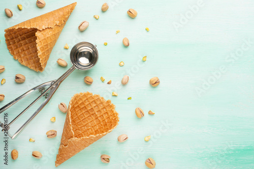 Horns on a light background with nuts. Summer mood