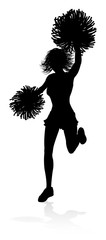 Cheerleader detailed silhouette with pompoms © Christos Georghiou