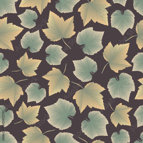 Vector hand drawn seamless pattern with colorful autumn leaves -03 © Nina