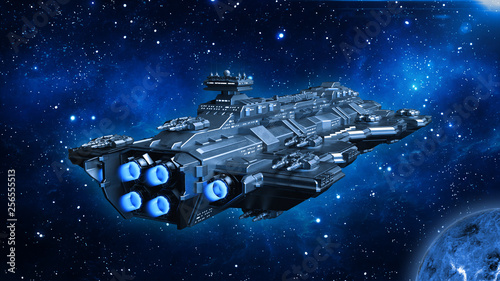 Spaceship traveling in deep space, alien UFO spacecraft flying in the Universe with planet and stars, rear view, 3D rendering © freestyle_images