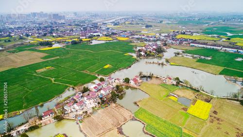 Leinwanddruck Bild Aerial photo of rural spring scenery