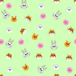 Seamless pattern of funny toy animals ' heads, bear, dog, hedgehog, pig, hare, cat for printing, baby fabrics, covers - 256572946