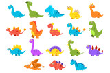 Fototapeta Dinusie - Dinosaurs set, variety species of brightly colored dino vector Illustrations on a white background © topvectors