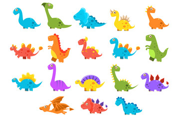 Dinosaurs set, variety species of brightly colored dino vector Illustrations on a white background