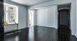 Leeres Zimmer mit schwarzen Holzdielen