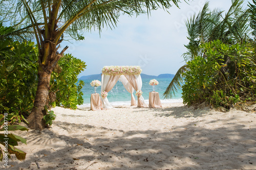 view of wedding decoration on  tropical summer beach  - 256587718