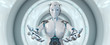 Leinwandbild Motiv White woman cyborg opening her two hands 3D rendering