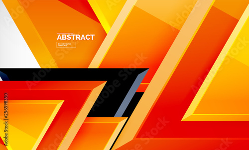 Triangles repetiton geometric abstract background, multicolored glossy triangular shapes, hi-tech poster cover design or web presentation template with copy space