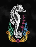 Hand drawn seahorse with sea plants. Vintage vector illustration.