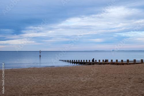 canvas print picture Der Strand von Portobello in Edinburgh/Schottland am Abend