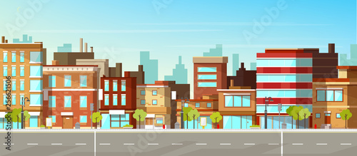 Modern town street panoramic flat vector. Low-rise houses with brick walls, blank signboards on storefronts, public buildings, sidewalk and road illustration. City commercial real estate background - 256621506