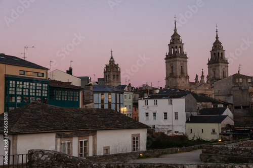 View of the old town and catedral of Lugo, Spain. Unesco World Heritage