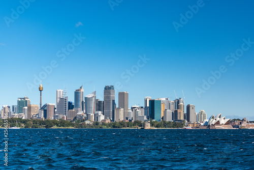 Sydney cityscape and Sydney Harbour on sunny day