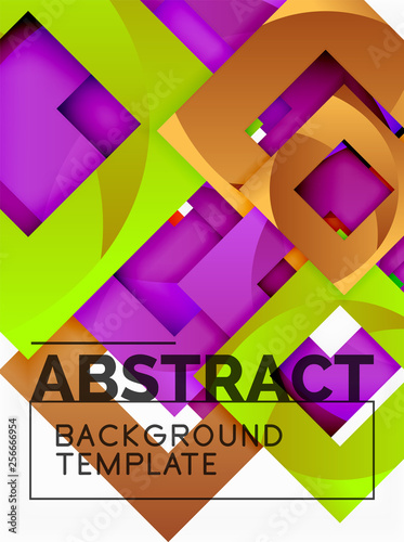 Color square composition with text. Geometric abstract background