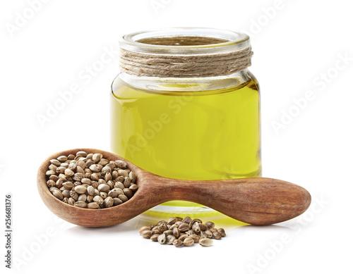 Hemp oil with seeds in closeup © Dionisvera