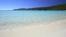 """Постер, картина, фотообои """"Desert beach on the south of Sardinia, turquoise sea and white sand on a clear beautiful day."""""""
