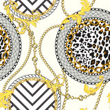 Chain seamless pattern with leopard skin elements. Animal print. Baroque trend. Vector illustration - 256683334