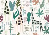 Jungle seamless pattern. Animal print with giraffe. Summer background. Vector illustration - 256683363