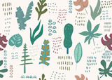 Abstract seamless pattern. Jungle leaves texture. Tropical art. Vector illustration - 256683369