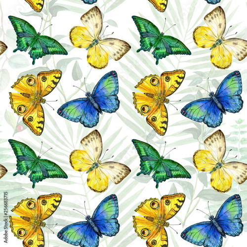 Floral leaves seamless pattern with colorful butterflies on white background © Natalia Andreichenko