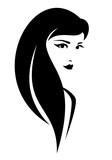 beautiful young brunette woman with long hair black and white vector portrait
