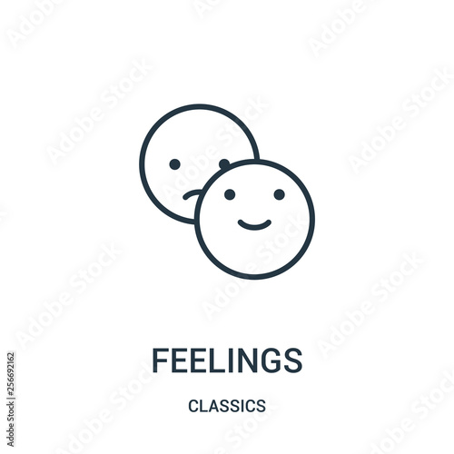feelings icon vector from classics collection. Thin line feelings outline icon vector illustration. Linear symbol.