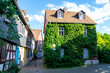 Leinwanddruck Bild - Green house in a residential street