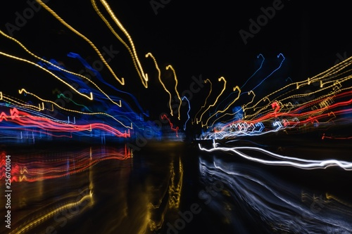 Blurred abstract lighhts of night city.Blur. - 256700104