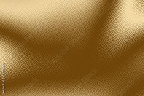 Imprint golden background and gold print on foil, metallic metal.