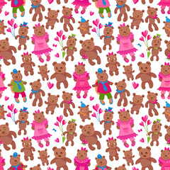Seamless pattern of vector cartoon animals isolated on a white background. Funny Teddy bear boy friends and girl friends, heart shaped red and pink balloons, raspberry. Wallpaper Valentine Day print © L. Kramer
