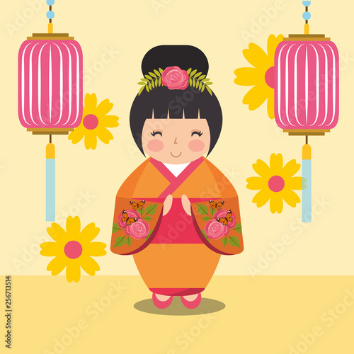 floral decoration chinese lanterns and japanese kokeshi doll in kimono - 256713514