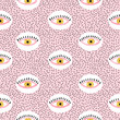 Seamless abstract pattern with eyes. Vector background.