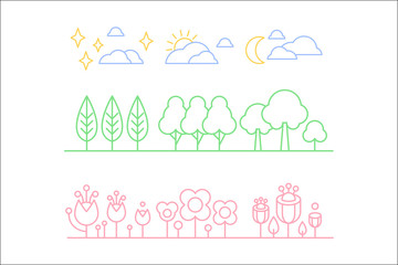 Nature set, trees, plants and sky clouds n a linear style vector illustration