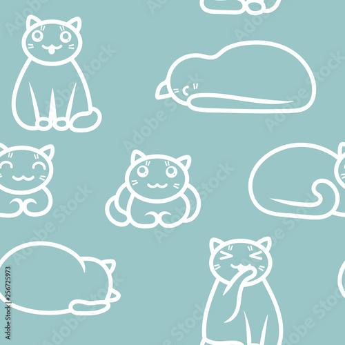 fototapeta na ścianę Cute seamless vector pattern. Outline of cats in kawaii style