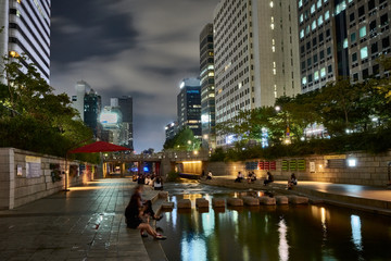 Cheonggyecheon river at night, Seoul, South Korea