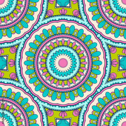 Decorative colorful ethnic seamless pattern for fabric or wrapping in oriental style. Hand drawn illustration © nonikastar