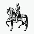 Vintage knight on a horseback illustration - 256759727