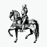 Vintage knight on a horseback illustration