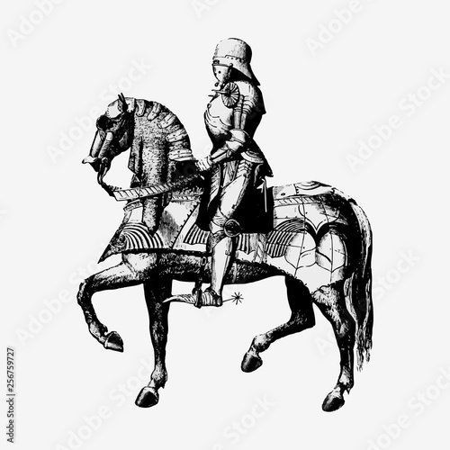 Vintage knight on a horseback illustration
