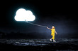 Cloud computing concept. Mixed media