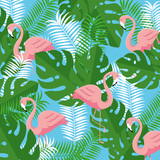 tropical flamingos with branches leaves plants