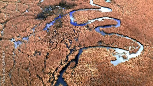 Brown swamps and small blue river, aerial view