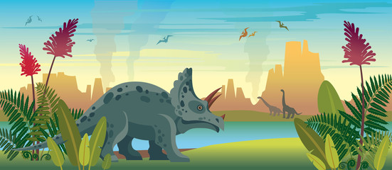 Dinosaurs and prehistoric nature.