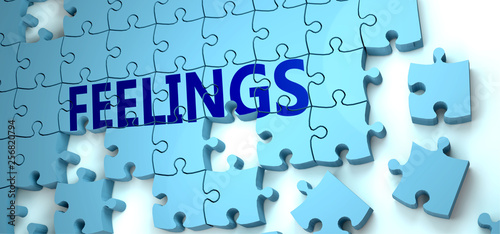 Feelings puzzle - complexity, difficulty, problems and challenges of a complicated concept idea pictured as a jigsaw puzzle tiles with a English word, 3d illustration